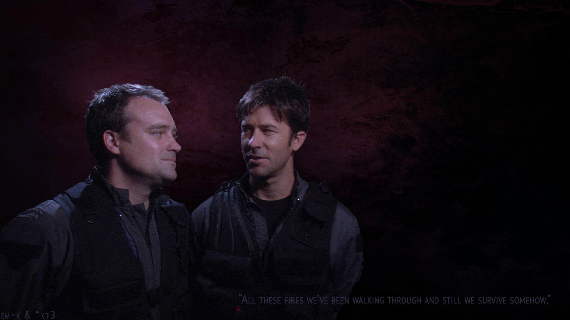 """Rodney and John in tac gear looking at each other against a glowing purple background. The caption reads: All these fires we've been walking through and still we survive, somehow."""""""