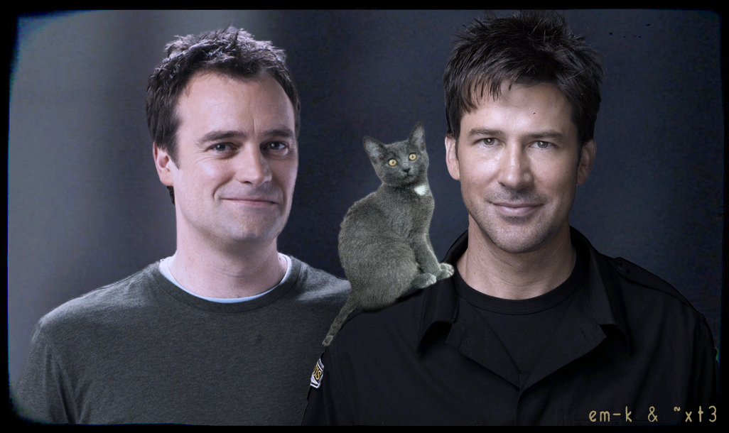 Rodney and John standing and smiling together with a tiny gray kitten on John's shoulder.