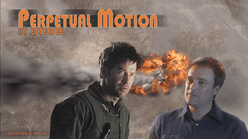 John in flight suit and Rodney in a blue dress shirt both looking intense while a jet fighter flames out behind them.